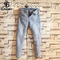 sundipy mens denim pants Korean chic fashion slim light blue Street trend mens jeans