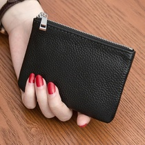 Leather men and women mini coin purse slim leather zipper coin bag short wallet hand key bag card bag female