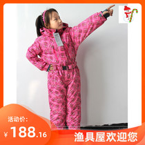 European single childrens jumpsuit jumpsuit male and female ski suit waterproof to keep warm big childrens ski clothes.
