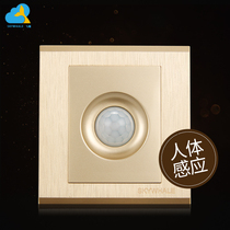 Infrared body sensor switch panel intelligent photosensitive adjustable corridor energy-saving lamp sensor opening five holes
