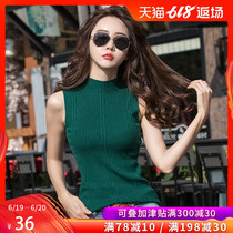 Sleeveless sweater vest female half-high collar blouse 2019 spring and Autumn take the strap womens tight-fitting outer wear primer shirt