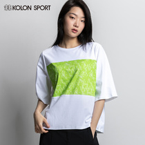 KOLONSPORT can be long T-shirt women's short-sleeved summer autumn goods round neck breathable loose Korean version of the short-sleeved sports T-shirt