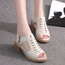 2019 new tide rough with sandals female summer flat Korean students wild fish mouth retro princess with female shoes