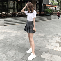 a word jupe college plaid pleated jupe jupe Hong Kong high waist jupe summer autumn and winter 2019 new jupe tide