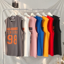 Vest male cartoon sleeveless t-shirt mens youth Korean loose waist summer mens sports basketball shirt tide