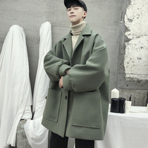 In the long section of male winter jacket thickened woolen trench coat student ins Hong Kong style Korean version of the trend of the couple woolen coat