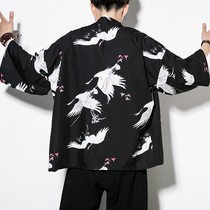 Coat male Chinese style male hanfu cardigan retro style thin section of the famous family clothing men daobao Tang suit trend kimono