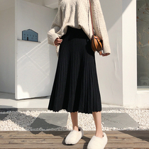 Maternity skirt women autumn and winter loose a-word knit mid-length skirt black spring and autumn dress adjustable pleated skirt