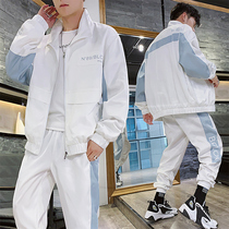 2019 new autumn sports jacket set mens student youth leisure set Korean version trend wave brand handsome