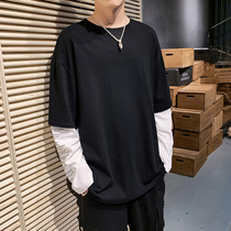 2019 fall new stitching fake two long-sleeved T-shirt mens loose sports T-shirt dress Korean version of the trendy mens wear