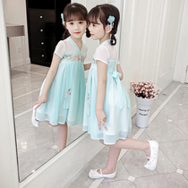 Girls dresses summer 2019 New childrens skirts summer Big childrens chiffon Chinese style hanfu yangqi skirt