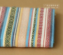 Guangxi ethnic characteristics clothing fabric strong Jin jacquard thick cotton linen tablecloth wall decoration fabric