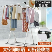 Drying racks outside the balcony can be hung telescopic laundry pole floor bedroom clothes rack drying quilt home folding drying rack