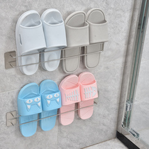Bathroom slippers rack wall wall-mounted free punch toilet rack stainless steel bathroom door after shoe care drain rack