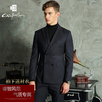 Wedding Suit Suit male groom dress Four Seasons England slim youth double breasted striped wool casual suit