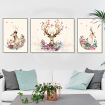 Classic DIY digital oil painting bedroom living room Elk Three fill color hand-painted hand large oil painting decoration