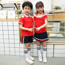 Childrens summer primary school uniforms boys and girls lapel big red short-sleeved T-shirt shorts skirt suit kindergarten