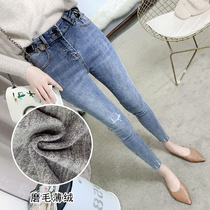 High-waisted double-breasted fleece plus velvet jeans female autumn and winter 2019 New significant thin plush plush tight pants