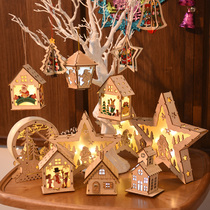 Christmas wood glow ingenued cottage pendant snow house five-pointed star pendant Christmas creative childrens gift pieces