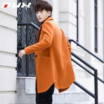 2019 Winter new woolen jacket mens Korean trend slim handsome wool coat British wind coat