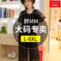 Large size womens fat woman MM cover belly summer suit female two-piece Western style was thin by the age of summer fat sister loose
