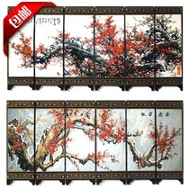 49 antique lacquer small screen decorative ornaments Chinese special gifts to send foreigners six fan proud snow spring