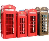Iron British telephone booth models ornements Bar decorations accessoires Creative Showcase display accessoires
