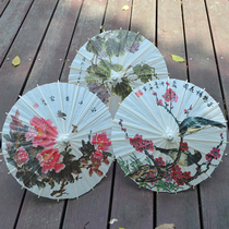 Three Mann not to rain paper umbrella classical peony Plum blossom mini small paper umbrella Kindergarten trumpet decorative umbrella prop Umbrella