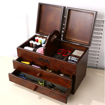 Sewing box home high-end set of wood retro cross-stitch tools treasure box large storage box