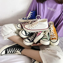 Korean version of the fall of the 1970s high canvas shoes female students flat Harajuku Ulzzang tide wild ins Super fire