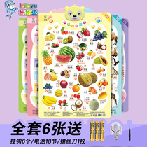 Concave and convex double-sided sound wall chart Tang poetry Pinyin characters animal fruit vegetables Chinese characters digital full wall stickers