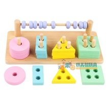 Two-in-one set of column geometry matching blocks enlightenment early childhood parent-child toys sense fine action focus