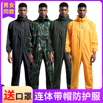 Dust clothing protective clothing waterproof rain clothing safety coveralls with cap paint grinding mens raincoats overalls printing