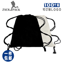 Canvas beam pocket shoulder bag student sports cotton drawstring cloth bag small backpack printing custom-made LOGO