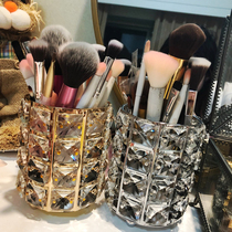 European-style gold crystal makeup brush storage cylinder brush barrel home cosmetics storage box eyebrow pencil comb box finishing