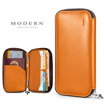 Germany Modern passport bag multi-function wallet travel storage document bag ticket folder leather clutch