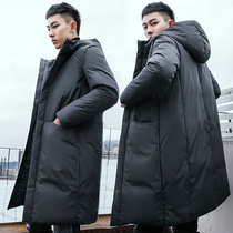 Xue Chi Anti-season Down Jacket Mens long section over the knee coat 2019 Winter Korean thick slim youth tide coat
