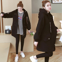 Large size pregnant women cotton coat in the long section of the loose winter coat thickening maternity winter jacket 200 pounds tide