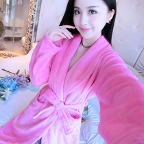 Smanchi robe Pajamas Female Autumn winter thickened flannel bathrobe big code lady Coral Velvet Home suit bathrobe