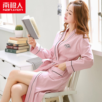 Antarctic nightgown female spring and autumn bathrobe ladies pajamas cotton long-sleeved Japanese bathrobe female long cotton home service