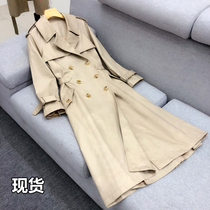Korean version of the double-breasted Khaki was thin slim waist skirt swing in the long section of the windbreaker coat female spring and autumn