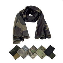 Camouflage scarf Army fan tactical scarf commando CS field breathable turban dust camouflage jungle quick-drying mesh scarf