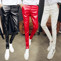 Autumn and winter mens personality loose thickened motorcycle leather pants casual bright non-mainstream Tide men plus cashmere warm winter