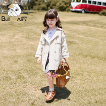 Girls trench coat 2019 autumn new incense children's clothing western Korean children's double-breasted spring and autumn coat in the long section