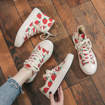 2019 spring new paragraph wild Korean students canvas shoes female Summer Strawberry cloth shoes tide shoes red white shoes