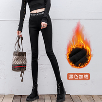Tide brand 2019 new leggings women wear outside the autumn and winter high waist was thin feet stretch tight plus velvet magic pants