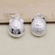 990 sterling silver accessories Lunar New Year lucky coin pig pendant diy red rope bracelet beaded jewelry accessories materials