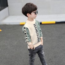Boy sweater pullover 2019 new foreign air in the childrens autumn and winter children plus velvet thick knit sweater Korean tide
