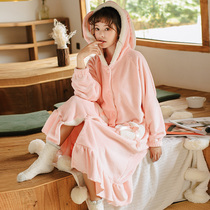 Coral Velvet Pajamas Female autumn winter thickened long robe female winter bathrobe Korean version can wear sweet and lovely home clothes outside