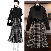 Big size womens fashion sweater skirt two PCs set fat mm autumn winter thickened knitted woolen plaid skirt Set